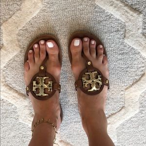 tory burch brown and gold sandals